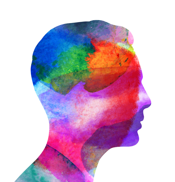 Profile of a mans head with water color texture fill.