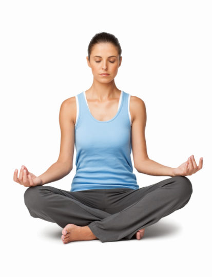 Young Caucasian woman meditating in lotus position. Vertical shot. Isolated on white.